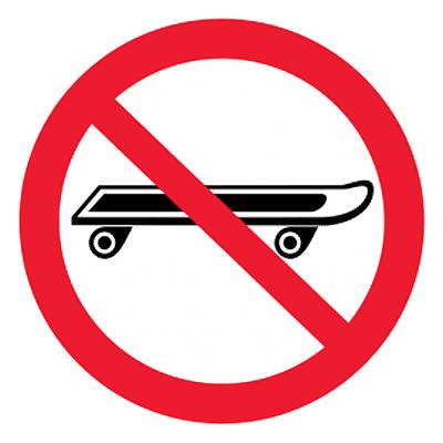 Запрещающий знак Вход со скейтбордами запрещен