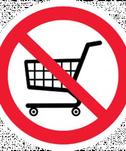 Запрещающий знак Вход с тележками запрещен