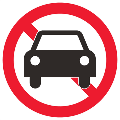 Запрещающий знак Движение автотранспорта запрещено