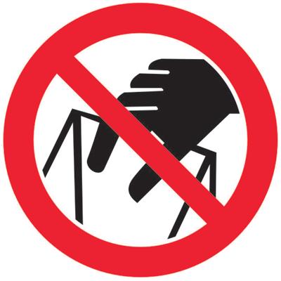Запрещающий знак Запрещается брать руками. Сыпучая масса Непрочная упаковка. P33