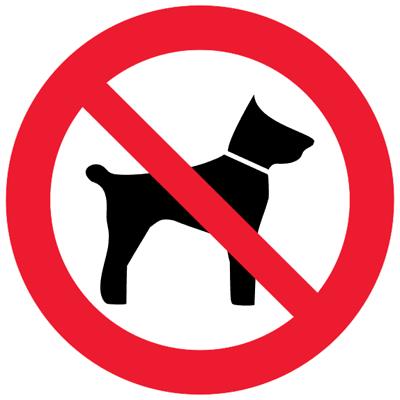 Запрещающий знак Запрещается вход (проход) с животными (P14)