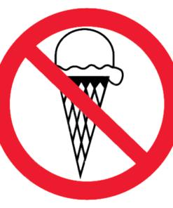 Запрещающий знак Запрещается вход с мороженным