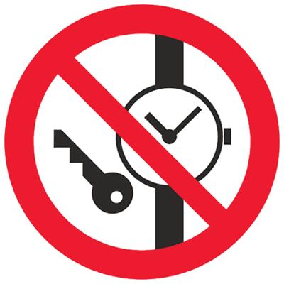 Запрещающий знак Запрещается иметь при (на) себе металлические предметы (часы и т.п.) (P27)