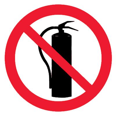 Запрещающий знак Запрещается использовать огнетушитель