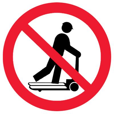 Запрещающий знак Запрещается кататься (стоять) на тележке