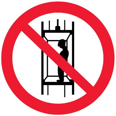 Запрещающий знак Запрещается подъем (спуск) людей по шахтному стволу (запрещается транспортировка пассажиров) (P13)