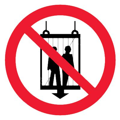 Запрещающий знак Запрещается пользоваться лифтом во время пожара
