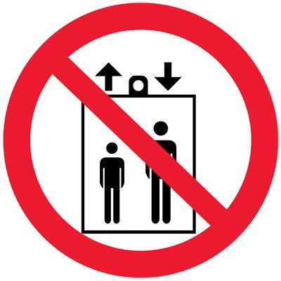 Запрещающий знак Запрещается пользоваться лифтом для подъема (спуска) людей (P34)