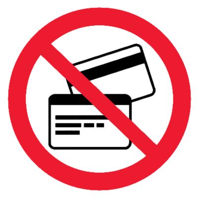 Запрещающий знак Запрещается пользоваться магнитными карточками
