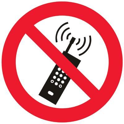 Запрещающий знак Запрещается пользоваться мобильным (сотовым) телефоном или переносной рацией (P18)