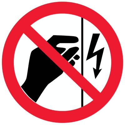 Запрещающий знак Запрещается прикасаться. Корпус под напряжением (P09)