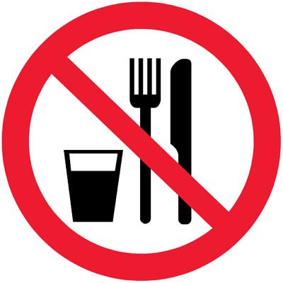 Запрещающий знак Запрещается принимать пищу (P30)