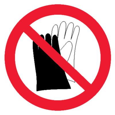Запрещающий знак Запрещается работать в перчатках (рукавицах)