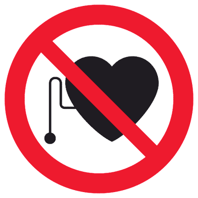 Запрещающий знак Запрещается работать и присутствовать людям со стимуляторами сердечной деятельности (P11)
