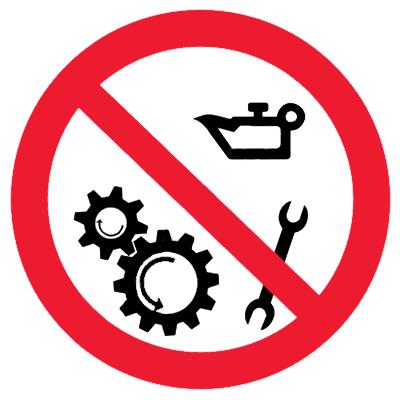Запрещающий знак Запрещается смазывать во время работы механизма
