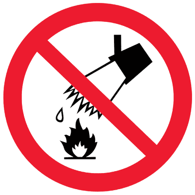 Запрещающий знак Запрещается тушить водой (P04)