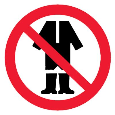 Запрещающий знак Запрещено находиться в спецодежде в помещении