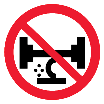 Запрещающий знак Использовать случайные предметы как подставки запрещено