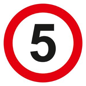Запрещающий знак Ограничение скорости движения 5 км/ч