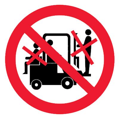Запрещающий знак Перевозка людей на погрузчике запрещена (сзади и спереди)