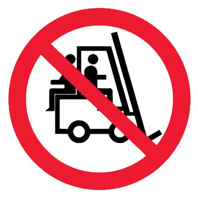 Запрещающий знак Перевозка людей на погрузчике запрещена 2