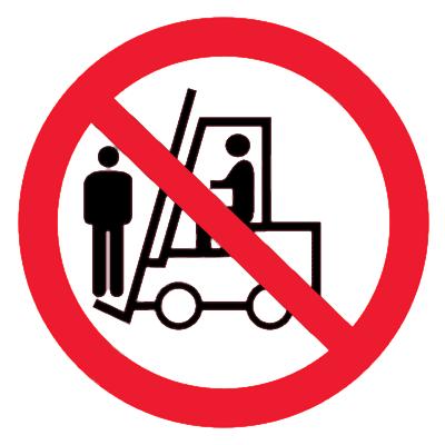 Запрещающий знак Перевозка людей на погрузчике запрещена