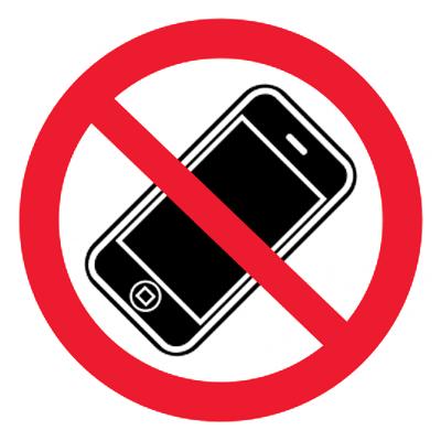 Запрещающий знак Пользоваться мобильными телефонами запрещено