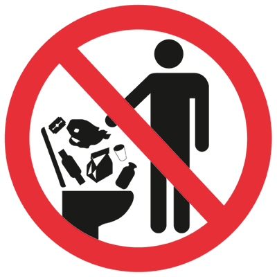 Запрещающий знак Посторонние предметы в унитаз не бросать.