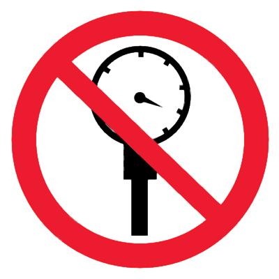 Запрещающий знак Превышать рабочее давление запрещено