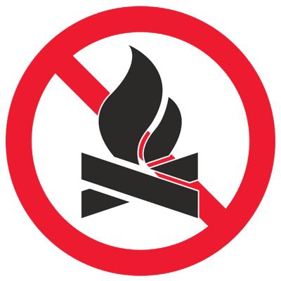 Запрещающий знак Разведение костров строго запрещено