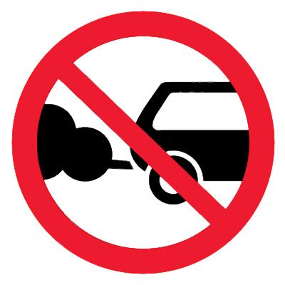 Запрещающий знак Стоянка с работающим двигателем запрещена