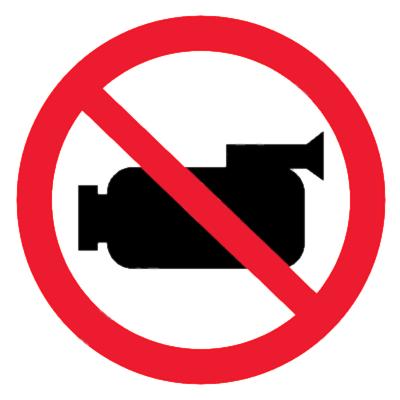 Запрещающий знак Съемка видеокамерой запрещена