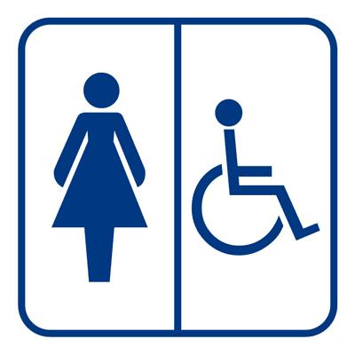 Знак Женский туалет для инвалидов (синий)