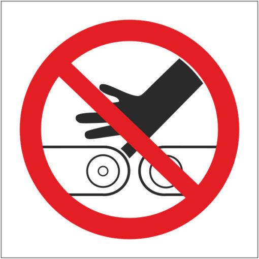Знак Запрещается направлять пальцы рук в ременный привод