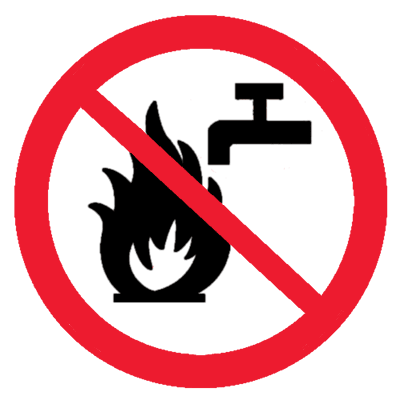 Знак Запрещено тушить водой