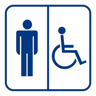 Знак Мужской туалет для инвалидов (синий)
