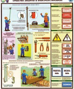 Комплект плакатов Средства защиты в электроустановках