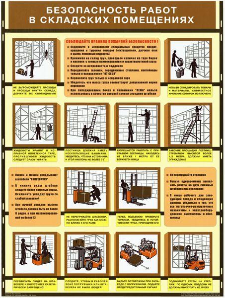 Плакат Безопасность работ в складских помещениях