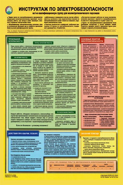 Плакат Инструктаж по электробезопасности на I-ю квалификационную группу для неэлектротехнического персонала