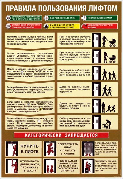 Плакат Правила пользования лифтом (самоклеящаяся пленка) 1 лист 26х38 см