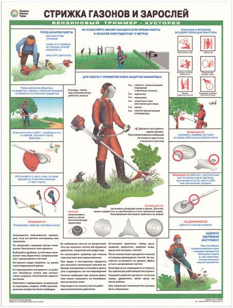 Плакат Стрижка газонов и зарослей. Бензиновый триммер-кусторез