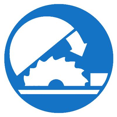Предписывающий знак Защита должна быть опущена перед пуском механизма (М36)