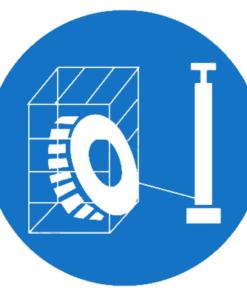 Предписывающий знак Накачивание шин производить в защитном устройстве (М35)