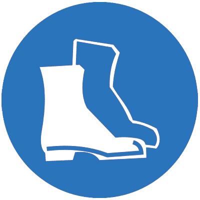 Предписывающий знак Работать в защитной обуви (M05)