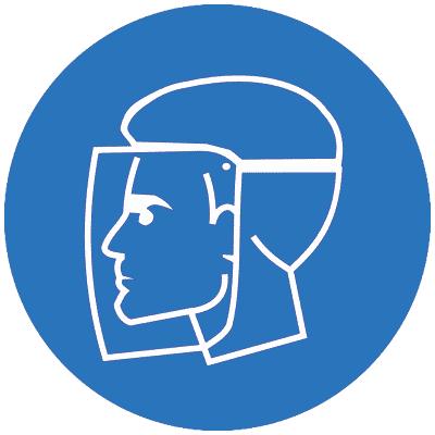 Предписывающий знак Работать в защитном щитке (M08)