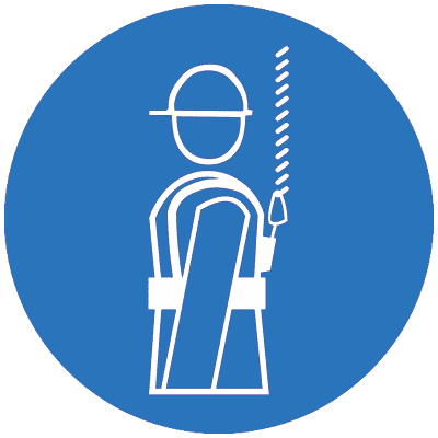 Предписывающий знак Работать в предохранительном (страховочном) поясе (M09)