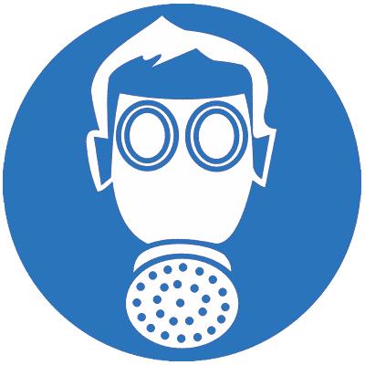 Предписывающий знак Работать в средствах индивидуальной защиты органов дыхания (M04)