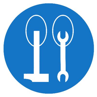 Предписывающий знак Работать на высоте с привязанным ручным инструментом (М29)