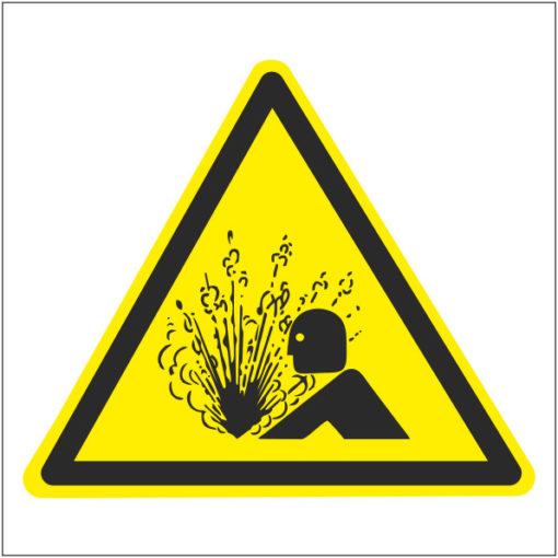 Предупреждающий знак Внимание. Возможен выброс (стравливание) высокого давления