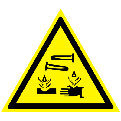 Предупреждающий знак Опасно! Едкие и коррозионные вещества W 04